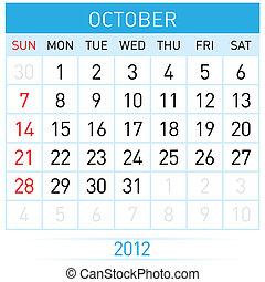 October Calendar. Illustration on white background for...