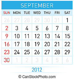 September calendar. Illustration on white background for...