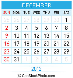 December Calendar Illustration on white background for...