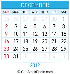 December Calendar. Illustration on white background for...