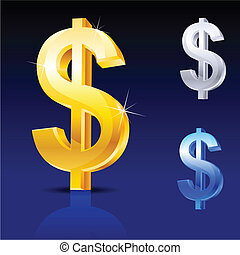 Abstract dollar sign. Illustration on blue background for...