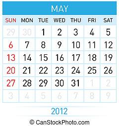 May Calendar.  Illustration on white background for design