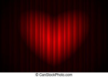 Stage with red curtain and spotlight great, heart-shaped -...