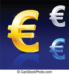 Abstract euro sign. Illustration on blue background for...