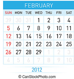 February Calendar Illustration on white background for...