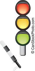 Traffic-light and rod. Vector illustration