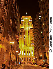 Chicago Board of Trade - Downtown Chicago at night with the...