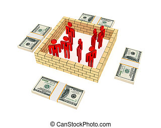 3d small people behind the wall and dollar packs Isolated on...