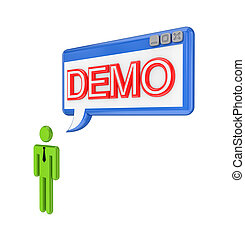 3d small person and OS window with word DEMO Isolated on...