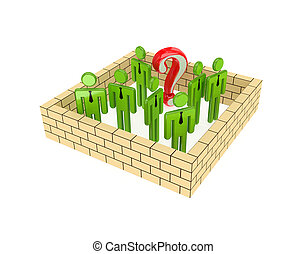 Teamwork concept - 3d small people behind the wall and big...