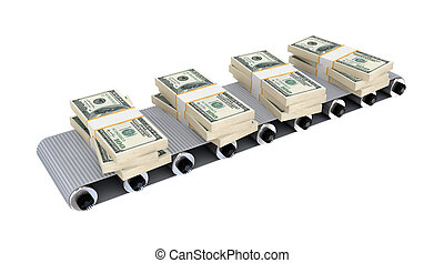 Dollar packs on grey conveyor3d renderedIsolated on white...