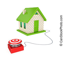 Big red button and small house3d renderedIsolated on white...