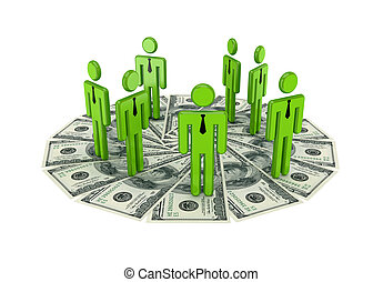 3d small people standing on a dollarsIsolated on white...