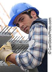 construcción, trabajador, losas, reforzado, Concreto