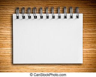 Blank White notebook on Oak wood