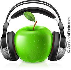 Realistic headphones and green apple. Illustration on white...
