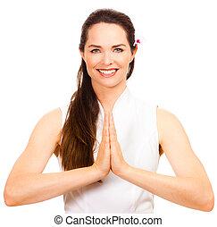 Beautiful female massage therapist