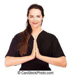 thérapeute, femme, masage, paisible