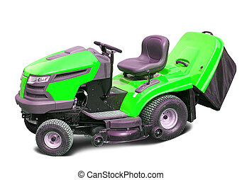 lawn mower over white - Green lawn mower Isolated with...