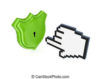 Cursor and protection symbol3d renderedIsolated on white...