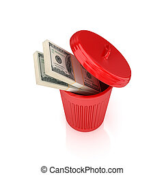 Dollar packs in a red recycle binIsolated on white...