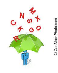 big umbrella under the rain of letters - 3d small person...