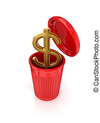 Golden dollar sign in a red recycle bin.