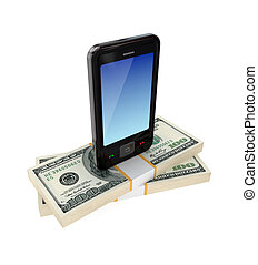 Modern mobile phone and dollar packs3d renderedIsolated on...