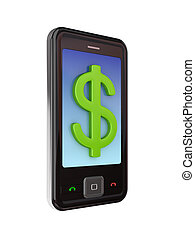 Modern mobile phone with dollar sign.