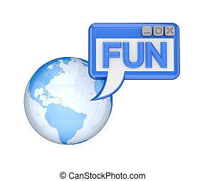 Earth, OS window with a word FUN.