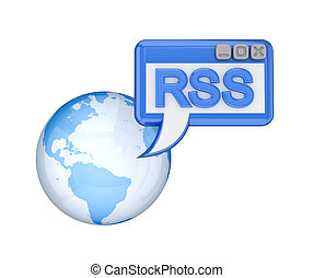 Earth, OS window with a word RSS.