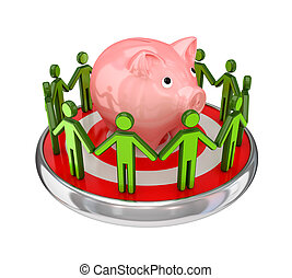 3d small people standing around piggybank - 3d small people...