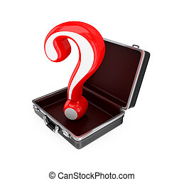 Opened suitcase and red query sign inside. Isolated on...