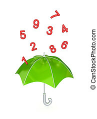 Green umbrella under the rain of red numbers Isolated on...