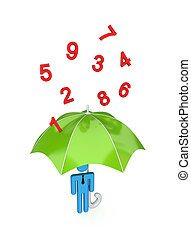 big umbrella under the rain of numbers - 3d small person...
