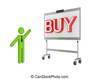 3d small person, flip chart and big word BUYIsolated on...