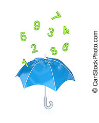 Blue umbrella under the rain of green numbers.Isolated on...