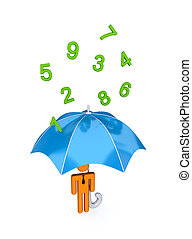 big umbrella under the rain of numbers. - 3d small person...