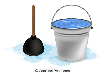 bucket of water with plunger. Vector illustration