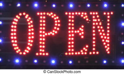 OPEN sign. - OPEN sign made from led%u2019s flashes at...