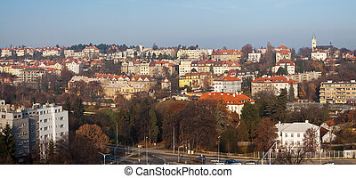 Panorama of  residential district in Prague
