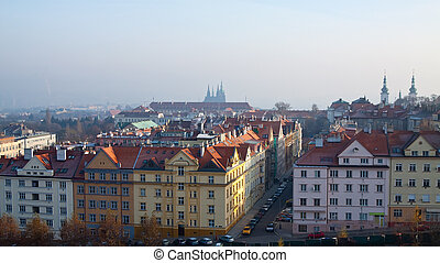 historical residential district in Prague - view of...