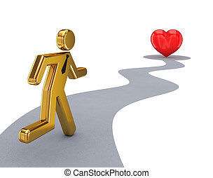 3d small person running to a red heartIsolated on white...