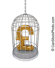 Pound sterling sign in a birdcage.Isolated on white...