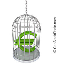 Euro sign in a birdcageIsolated on white background3d...