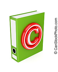 Green folder with red copyright symbol.
