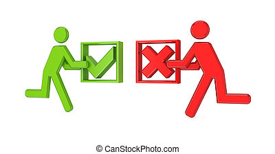 3d small people with tick mark and cross mark.