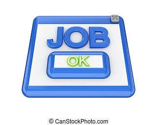 JOB button. Isolated on white background. 3d rendered.