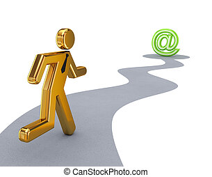 Running 3d small person and email sign.