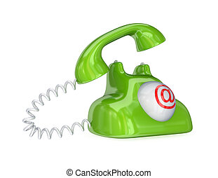 Green vintage telephone with red email sign.Isolated on...